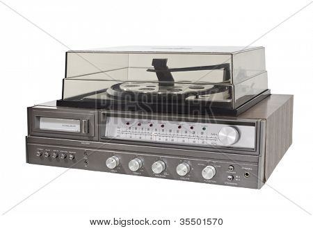 Vintage 1970s 8 track record player stereo with clipping path.