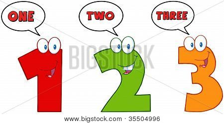 Numbers One,Two And Three With Speech Bubbles