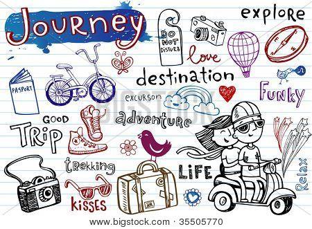 Journey, set of funky doodles