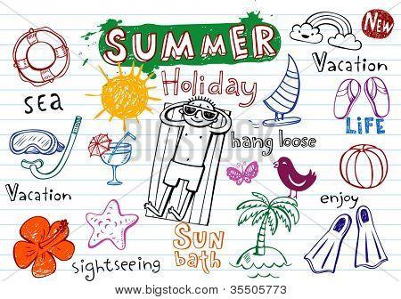 Garabatos de vacaciones de verano