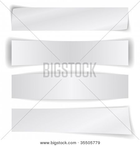 Set of blank paper banners isolated on white background.