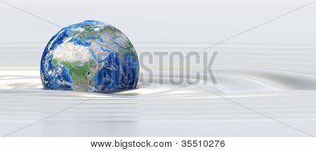 Planet earth in silk fluid