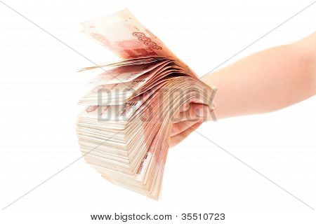 Russian Cashnotes Money In Hand Isolated On White Background