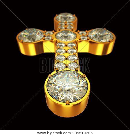 Jewelery: Golden Cross With Diamonds Over Black