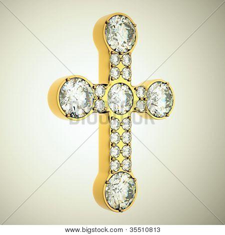 Jewelery: Golden Cross With Diamonds