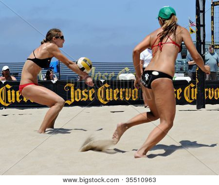 HERMOSA BEACH, CA - JULY 21: Kaitlin Sather and Michelle Moriarty compete in the Jose Cuervo Pro Beach Volleyball tournament in Hermosa Beach, CA on July 21, 2012