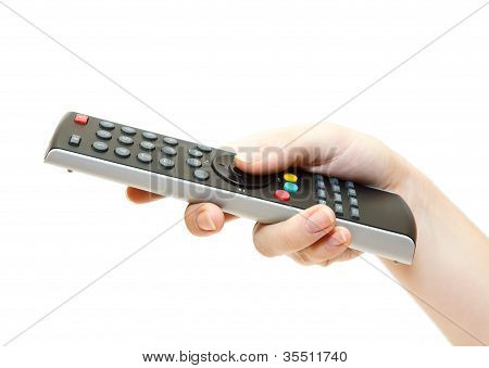 Female Hand With Remote Control Isolated On White Background