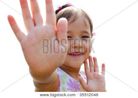 Funny, A Little Girl Waving Her Little Hands