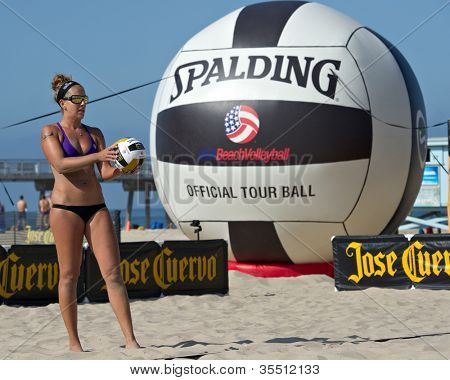 HERMOSA BEACH, CA - JULY 21: Whitney Pavlik competes in the Jose Cuervo Pro Beach Volleyball tournament in Hermosa Beach, CA on July 21, 2012.