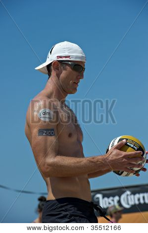 HERMOSA BEACH, CA - JULY 21: Sean Scott  competes in the Jose Cuervo Pro Beach Volleyball tournament in Hermosa Beach, CA on July 21, 2012.