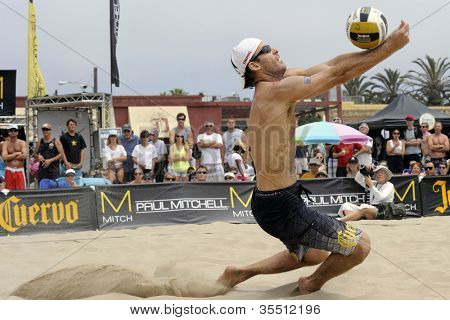 HERMOSA BEACH, CA - JULY 21: John Hyden  competes in the Jose Cuervo Pro Beach Volleyball tournament in Hermosa Beach, CA on July 21, 2012.