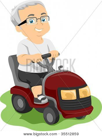 Illustration Featuring an Elderly Man Riding a Lawn Mower