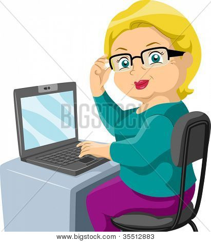 Illustration Featuring an Elderly Woman Using a Computer