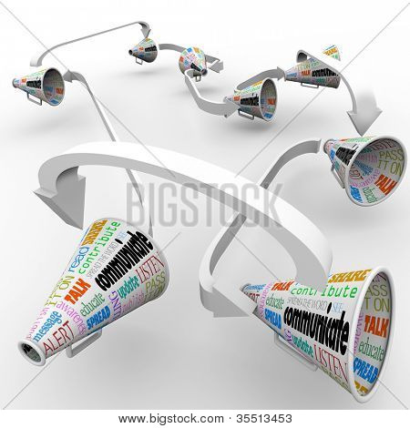 A network of connected megaphones or bullhorns spreading the word and sharing information of an important announcement, rumor or other vital message