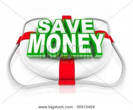A white life preserver with the words Save Money on it, symbolizing a budget rescue in the form of money saving offers or deals at a store sale or clearance event