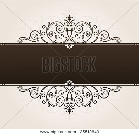 vector template for text. vintage frame decorated with antique ornaments black