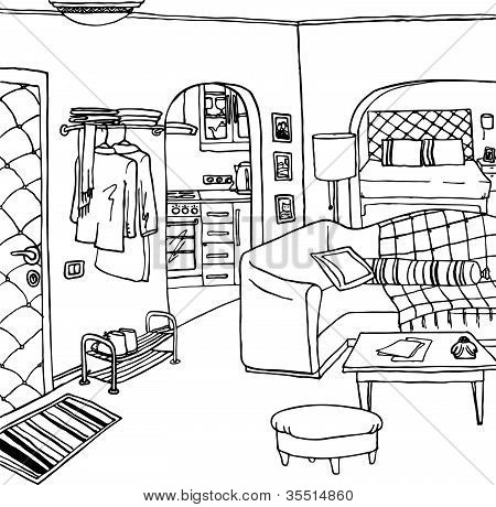 Metal House Plans as well Stock Vector Interior Illustration Room Cartoon Drawing in addition Modular Homes Plans likewise Diy Floor Plans in addition Plan For 30 Feet By 30 Feet Plot  Plot Size 100 Square Yards  Plan Code 1305. on simple 5 bedroom house plans