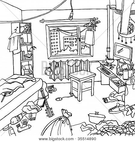 Interior of a cluttered room