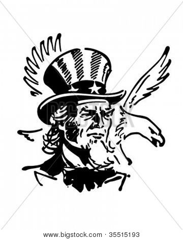 Uncle Sam With Eagle - Retro Clipart Banner