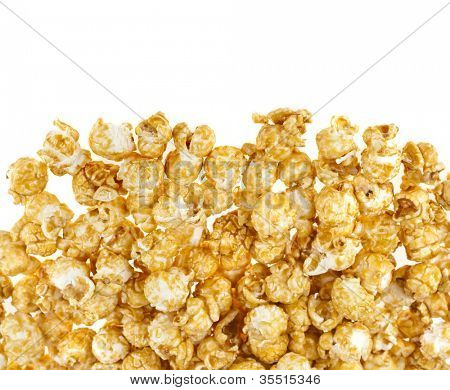 popcorn with caramel  isolated on white