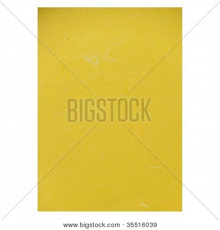 Yellow Rice Paper Texture On White Background
