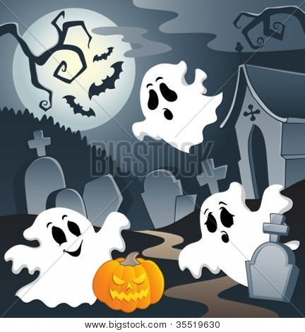 Ghost theme image 3 - vector illustration.