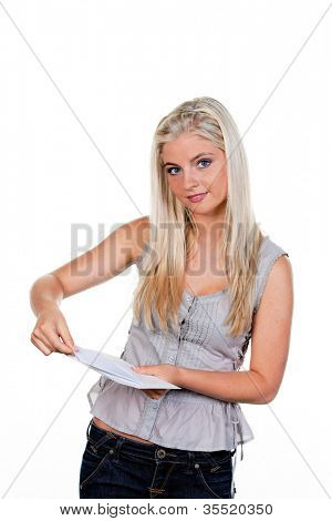 young woman is a letter in an envelope.