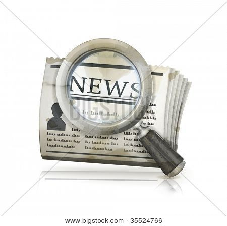 News Search, old-style vector isolated