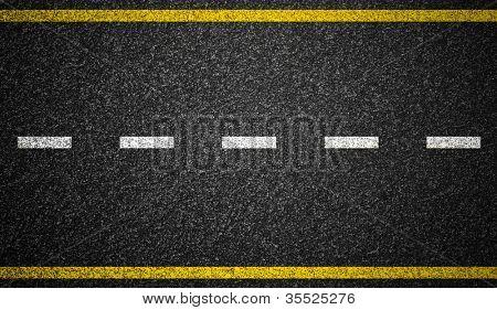 Estrada de asfalto com fundo de marcações de estrada