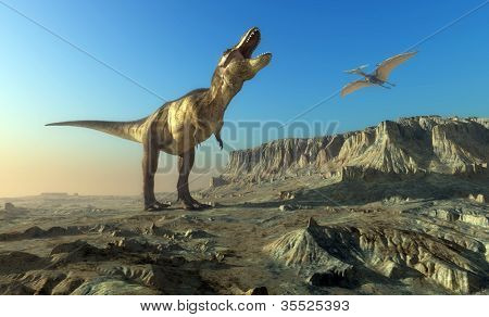 Giant dinosaur in the background of the  sky.