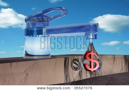 High resolution concept or conceptual abstract tap with a drop falling over blue sky background as a metaphor for money,dollar,crisis ,finance,economy,waste,banking,business,loss,source,wealth or rich