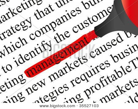 High resolution concept or conceptual abstract black text isolated on white paper background with a red marker as a metaphor for management,business,marketing,target,highlight,solution or branding