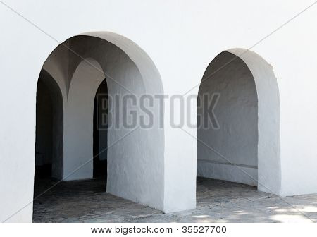 Ibiza Santa Agnes de Corona Ines white church in Balearic islands