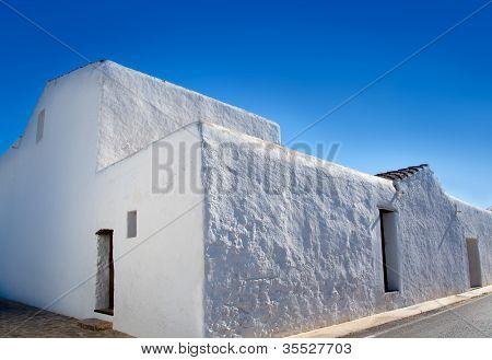 Ibiza Santa Agnes de Corona Ines whitewashed houses facade in Balearic islands