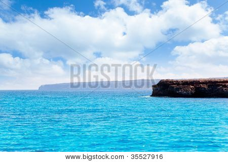 Formentera Punta Prima in Balearic islands of spain view from sea