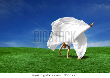 Cartwheeling Bride Outdoors