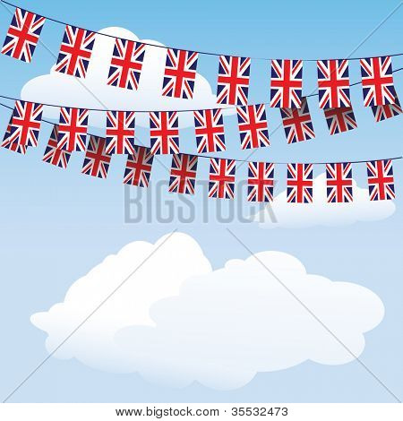 Union Jack bunting on cloud background with space for your text. Also available in  vector format