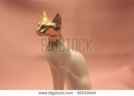 Bastet statue side view close up