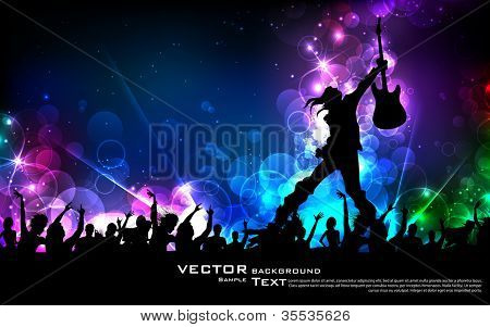 illustration of rock star performing with guitar on colorful cityscape background