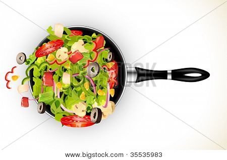 illustration of fresh vegetable stir fry in frying pan