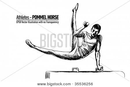 Hand-drawn Sketchy Vector Illustration of Gymnastics Sportsman | Pommel Horse