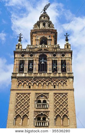 View of the Giralda, the belfry of the Cathedral of Sevilla, in Spain