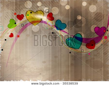 Colorful heart shapes in wave on grungy brown background. EPS 10.