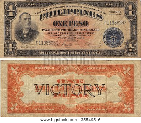 Philippines One Peso Victory Note WWII