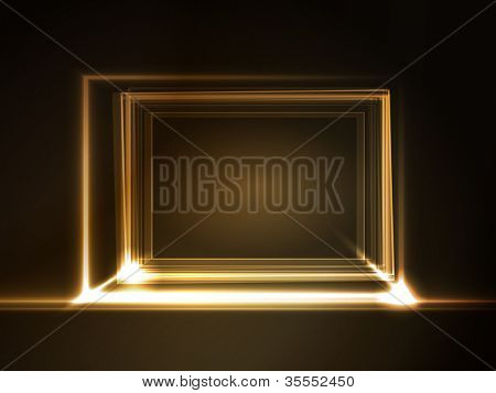 Overlying semitransparent rectangles with light effects form a golden glowing frame on dark brown background. Space for your message.