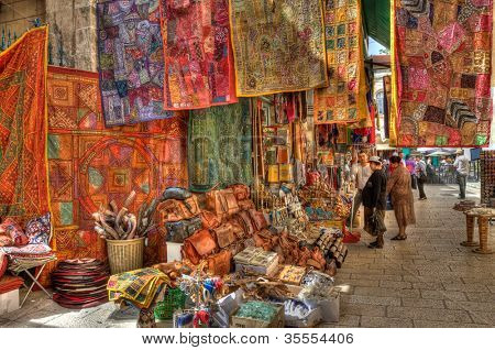 JERUSALEM - APRIL 02: Old market in east Jerusalem offers variety of middle east's products and souvenirs. It is very popular among tourists visiting the city in Jerusalem, Israel on April 02,2010.