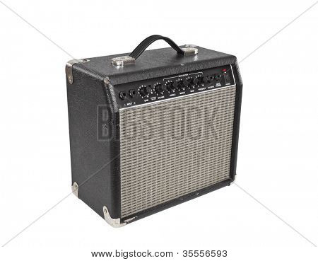 Vintage guitar practice amplifier isolated with clipping path.