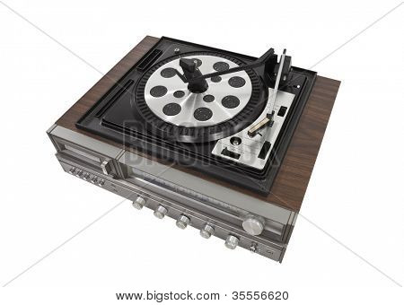 Vintage turn table stereo isolated with clipping path.