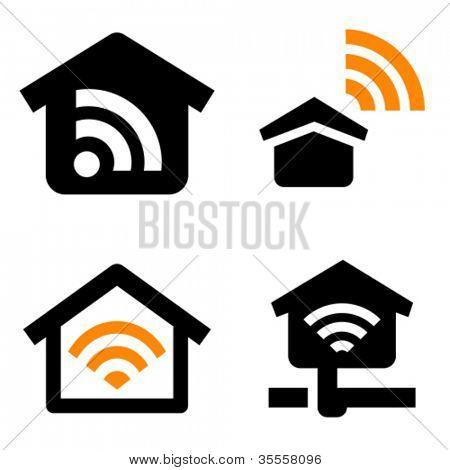 Home Wifi vector icon set