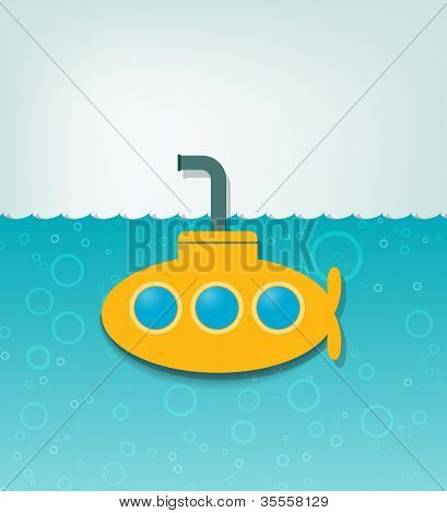 creative vector illustration with a yellow submarine